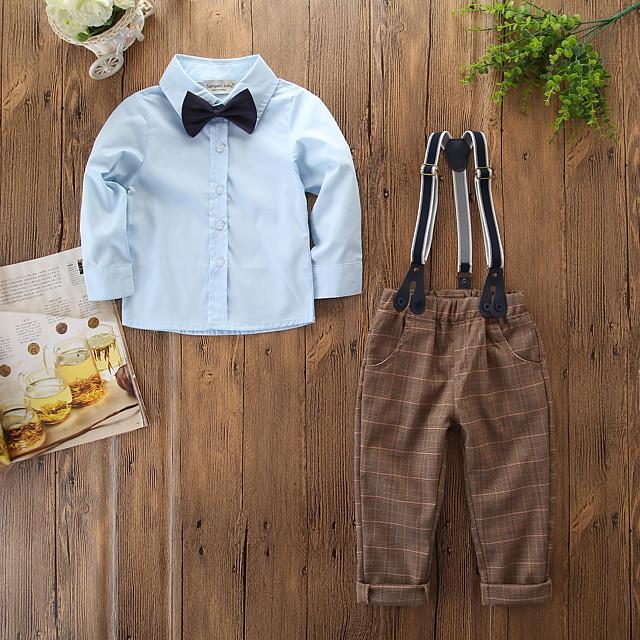Enfants Bébé Garçon Actif Basique Soirée Quotidien Couleur Pleine Tartan Noeud Manches Longues Normal Coton Ensemble de Vêtements Bleu clair