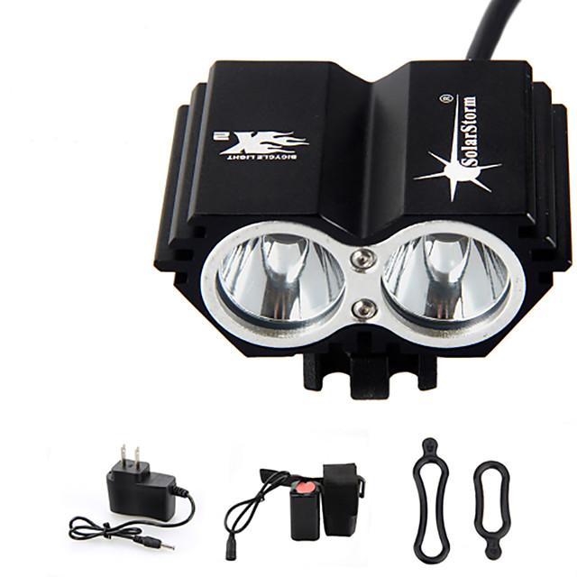 Pannlampor Cykellyktor Vattentät Uppladdningsbar 3000 lm LED LED 2 utsläpps 4.0 Belysning läge med batteri och laddare Vattentät Uppladdningsbar Nödsituation Cykling / Aluminiumlegering