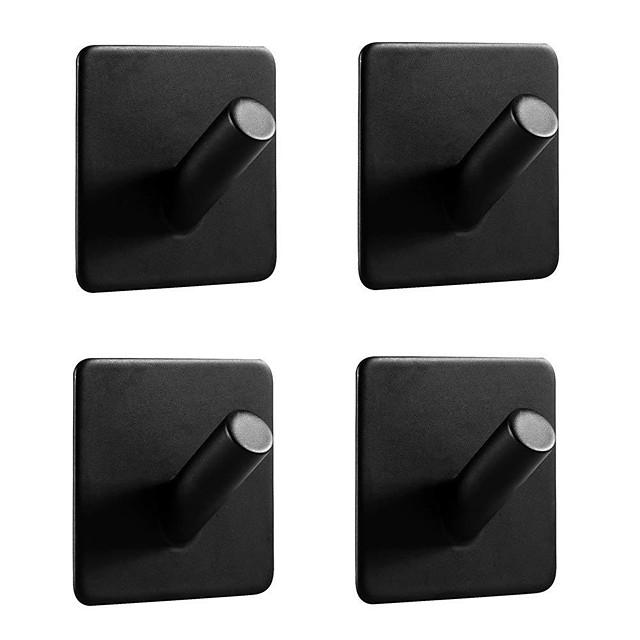 crochets adhésifs robustes paquet de 4 supports durables en acier inoxydable 304, étanche à l'huile et à la rouille pour la cuisine, les salles de bain, les portes, le bureau, placard-noir