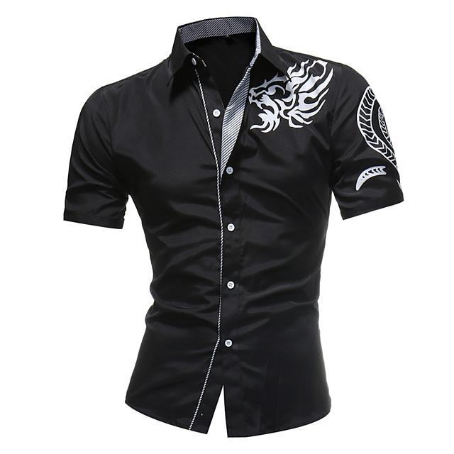 Homens Camisa Social Tribal Manga Curta Diário Blusas Branco Preto Azul Marinha