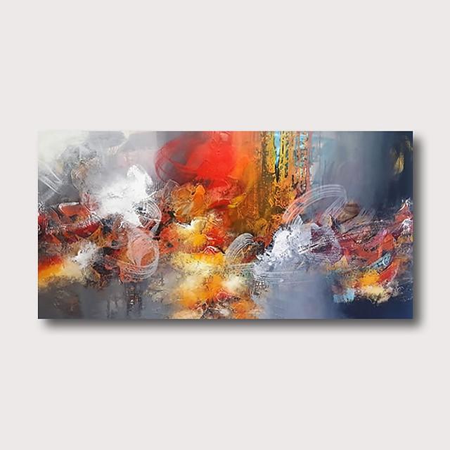 Peinture à l'huile Hang-peint Peint à la main Format Horizontal Abstrait Contemporain Moderne Inclure cadre intérieur