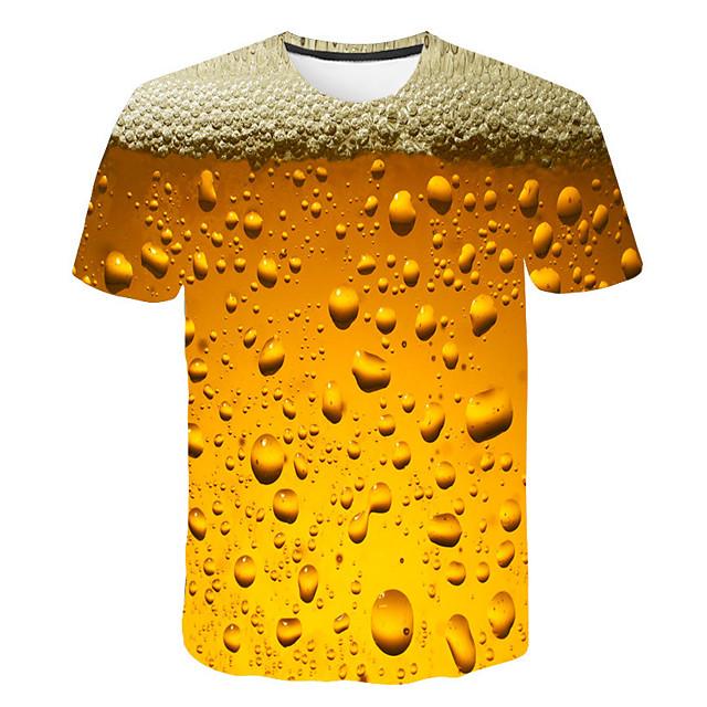 남성용 T 셔츠 3D 인쇄 그래픽 맥주 프린트 짧은 소매 일상 탑스 베이직 스트리트 쉬크 화이트 퍼플 루비
