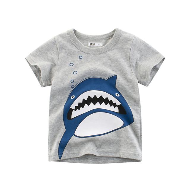 Enfants Garçon Tee-shirts Quotidien Ecole Imprimé Imprimé Manches Courtes basique Normal Gris