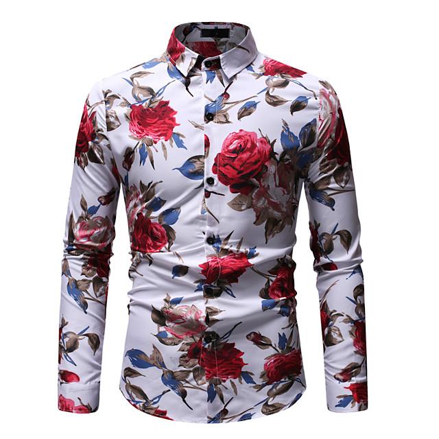 Voor heren Grafisch Overhemd Opdruk Lange mouw Uitgaan Tops Street chic Boho Klassieke boord Wit Zwart / Zomer / Club / Strand