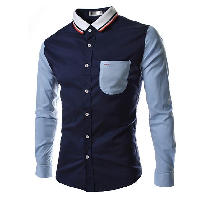남성용 셔츠 컬러 블럭 패치 워크 긴 소매 일상 탑스 베이직 화이트 네이비 블루