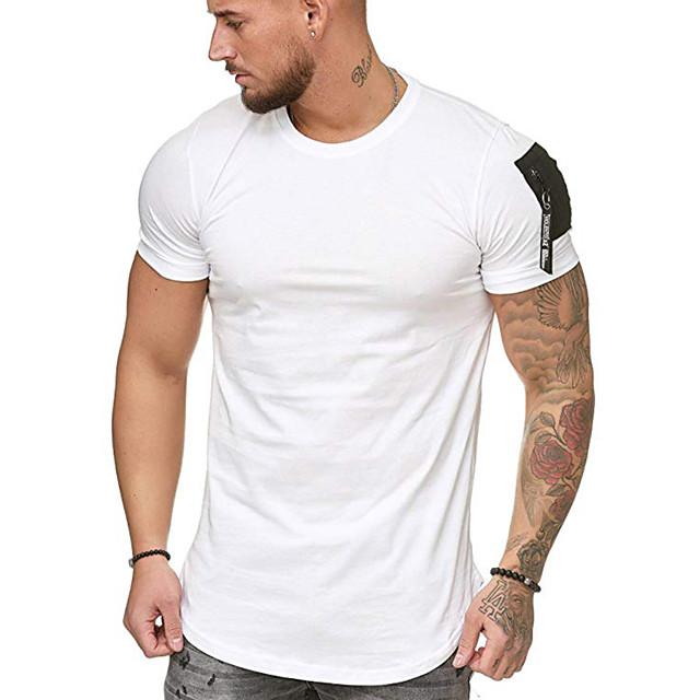 Homme T shirt Couleur Pleine Hauts Coton Blanche Noir Vert