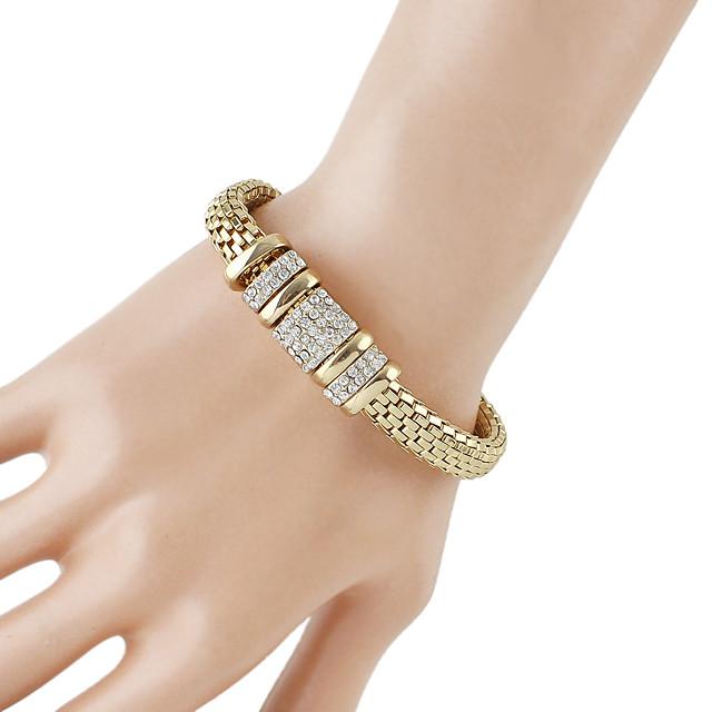 Chaînes Bracelets Femme Chaîne épaisse Chaîne de baht Strass Branché Mode Bracelet Bijoux Dorée pour Quotidien Rendez-vous