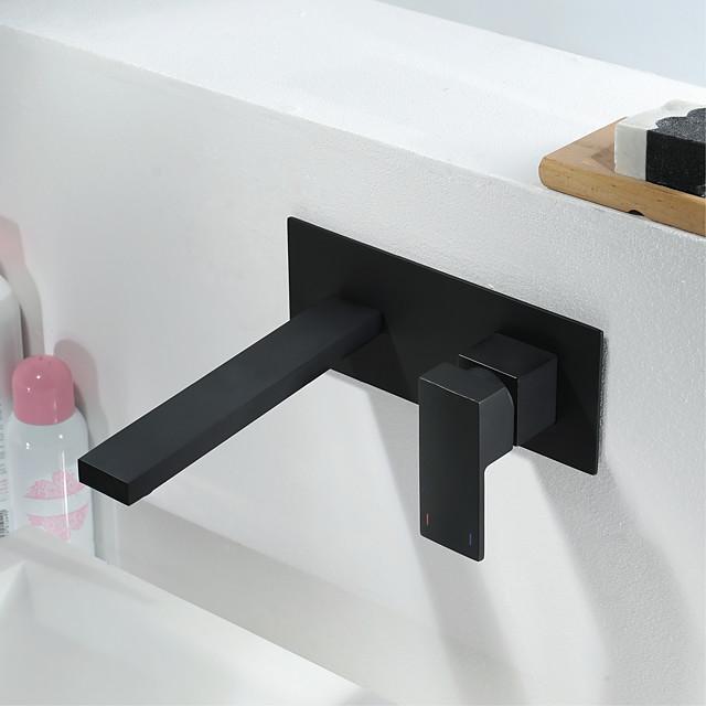 pirinç duvara monte banyo lavabo musluğu, siyah tek kulplu bir delikli banyo muslukları, sıcak ve soğuk anahtarlı