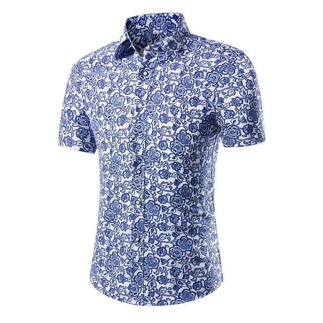 Homme Chemise Bloc de Couleur Géométrique Fleurie Imprimé Hauts Coton Bleu clair