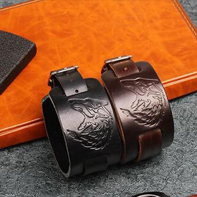 Bracelets en cuir Homme Cuir Tête de Loup Punk Bracelet Bijoux Noir Marron pour Quotidien Plein Air
