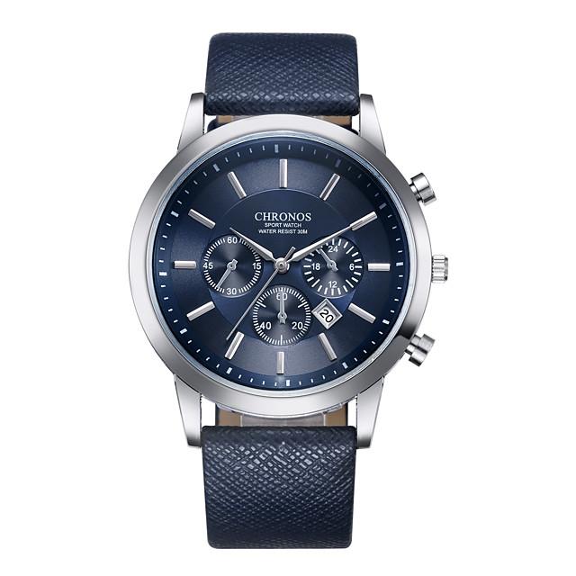 Erkek Spor Saat Elbise Saat Bilek Saati Quartz Lüks Takvim Analog Siyah / Beyaz Siyah Mavi / Bir yıl / Paslanmaz Çelik / Deri / Darbeye Dayanıklı