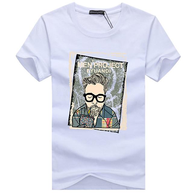 남성용 T 셔츠 카툰 초상화 플러스 사이즈 짧은 소매 일상 탑스 베이직 스트리트 쉬크 화이트 블랙 루비