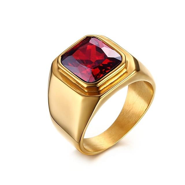 Inel Rosu Oțel titan 1 buc 8 9 10 11 / Bărbați