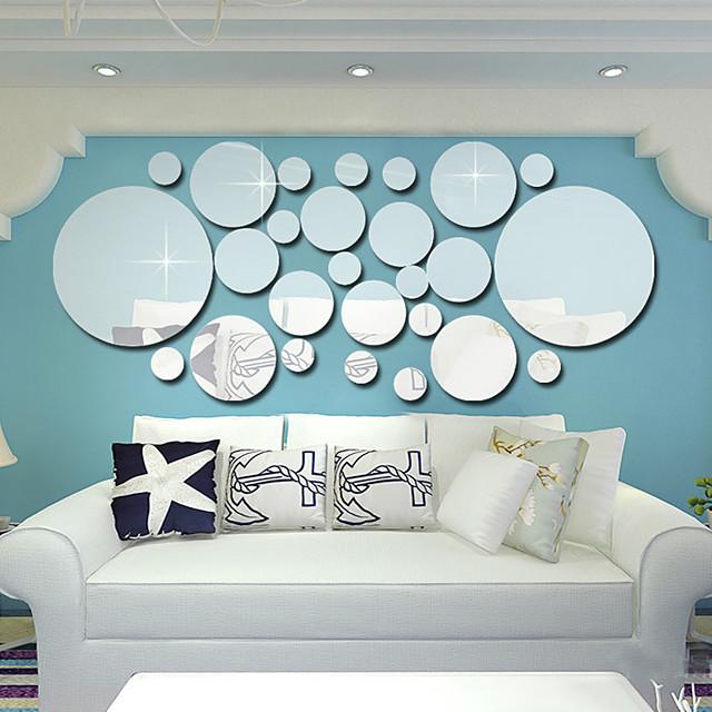 3D Stickers muraux Miroirs Muraux Autocollants Autocollants muraux décoratifs, PVC Décoration d'intérieur Calque Mural Mur Décoration 1 set / Repositionable