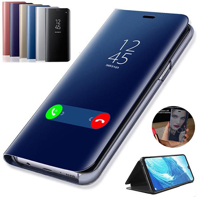Кейс для Назначение SSamsung Galaxy Note 9 / Note 8 / Note 5 со стендом / Покрытие / Зеркальная поверхность Чехол Однотонный Твердый Кожа PU