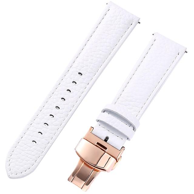 Cuir véritable / Cuir / Poil de veau Bracelet de Montre  Blanc 17cm / 6,69 pouces / 18cm / 7 Pouces / 19cm / 7.48 Pouces 1cm / 0.39 Pouces / 1.2cm / 0.47 Pouces / 1.3cm / 0.5 Pouces