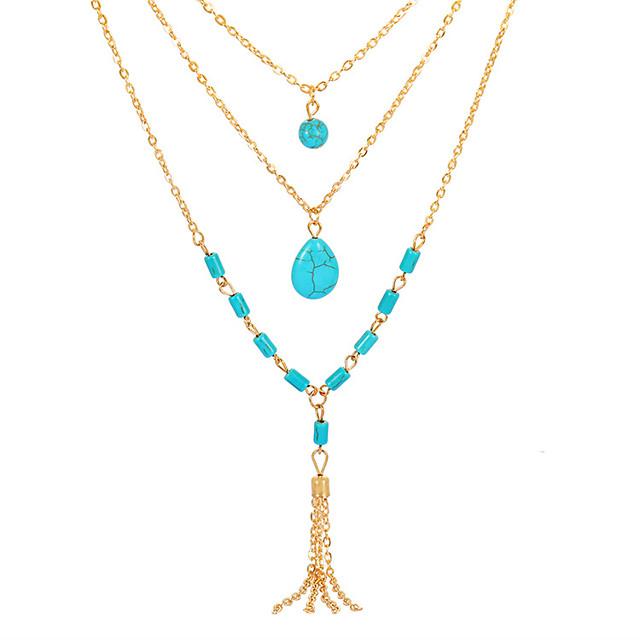 Collier Multirang Femme Franges Résine Goutte Européen Mode Bleu 55 cm Colliers Tendance Bijoux 1pc pour Quotidien