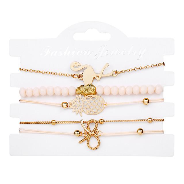 Bracelet Pendentif Femme Multirang Ananas Flamant Nœud Branché Décontracté / Sport Doux Bracelet Bijoux Dorée pour Carnaval Plein Air Sortie