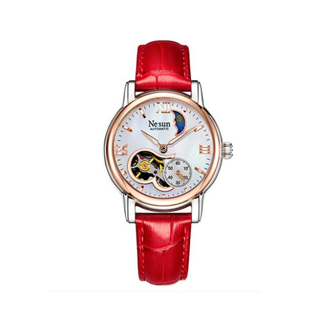 nesun Pentru femei ceas mecanic Mecanism automat Casual Rezistent la Apă Analog Alb Albastru piscină Roșu-aprins / Oțel inoxidabil / Piele Autentică / Iluminat / faza Lunii / Piele Autentică