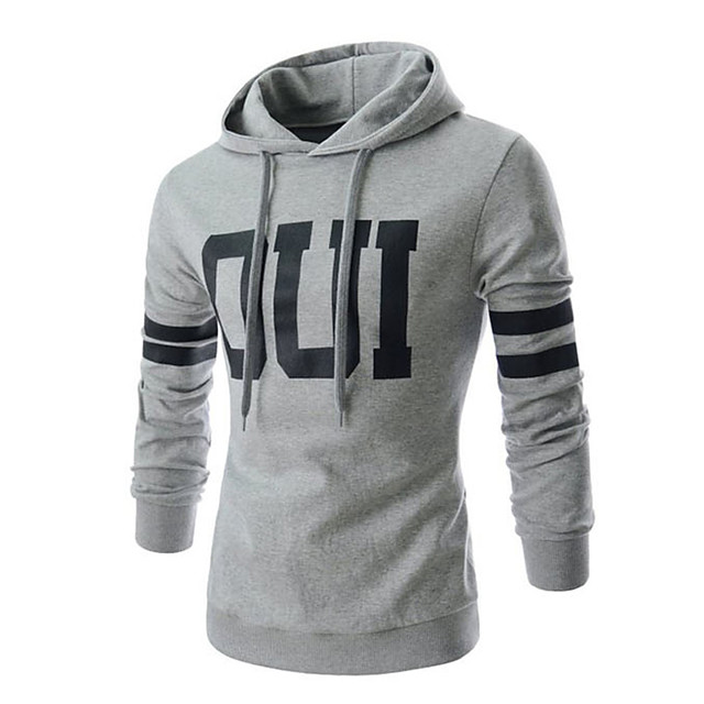 Voor heren Trui met capuchon Grafisch Tekst Brief Hoodies Sweatshirts Wit Zwart Grijs