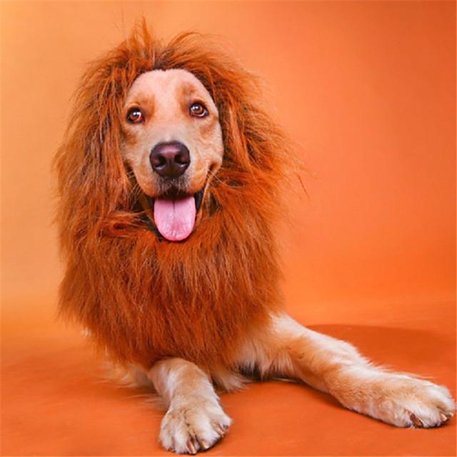 Honden kostuums Bandana's & Hoeden Lion Wig Leeuw Cosplay Hoofddeksels Modieus Winter Hondenkleding Puppy kleding Hondenoutfits Wit Zwart Khaki Kostuum voor Girl and Boy Dog Gemengd Materiaal