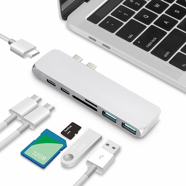 Usb c hub tipi c hub splitter çift çok fonksiyonlu kart okuyucu çoklu port adaptörü usb-c hub sd kart hdmi ultra ince tip c hub için macbook2018 2019 2020 macbook pro2016 2017 2018 2019 2020