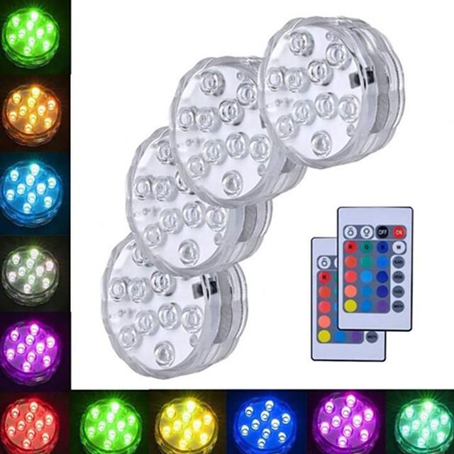 4 buc 3 W Lumini Subacvatice Rezistent la apă / Controlat de la distanță / Decorativ RGB 5.5 V Piscina / Potrivit pentru vase și acvariu 10 LED-uri de margele