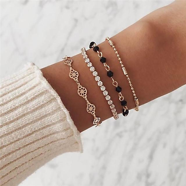 4pcs Bracelet Femme Classique Strass Fleur Artistique Romantique Doux Bracelet Bijoux Dorée Forme de Cercle pour Vacances Valentin
