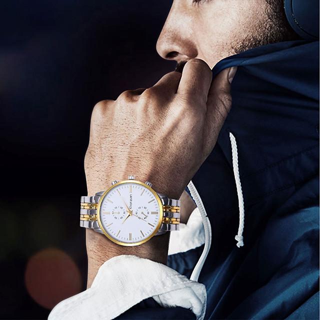Муж. Нарядные часы Кварцевый Классика Защита от влаги Аналоговый Белый Черный Золотой / Нержавеющая сталь