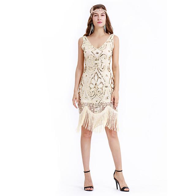 Gatsby Charleston Rétro Vintage Années 1920 Taille de guêpe robe de vacances Robe à clapet Robe Robe de bal Femme Paillettes Franges Paillette Costume Beige Vintage Cosplay Soirée Retour Mi-long