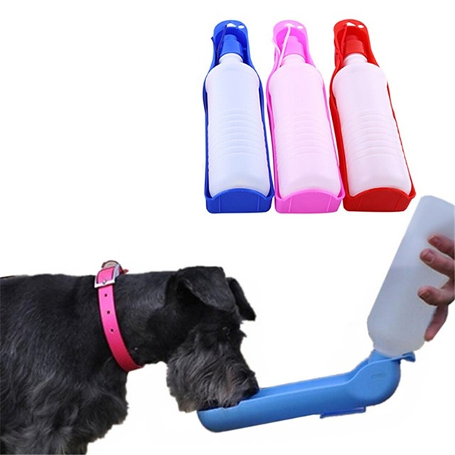 Dog Pets Bowls & Water Bottles / Feeders 0.5 L Plastic Portable Outdoor Travel Color Block Lolita Random Color Bowls & Feeding