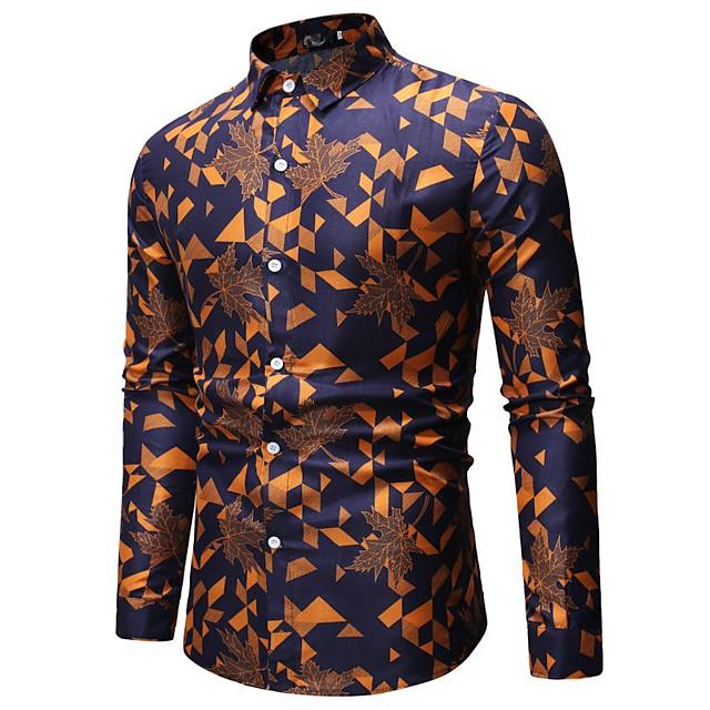 남성용 셔츠 체크 기하학 프린트 긴 소매 일상복 탑스 베이직 루비 옐로우 오렌지