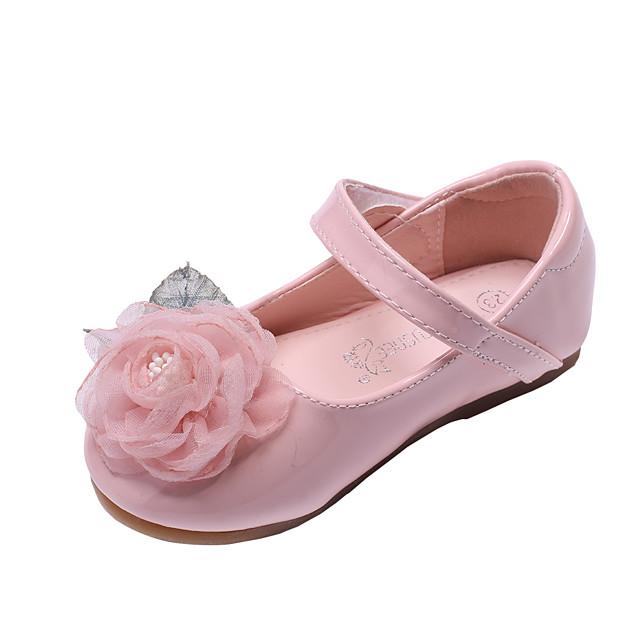 Voor meisjes Platte schoenen Comfortabel Bloemenmeisjesschoenen PU Peuter (9m-4ys) Dagelijks Feesten & Uitgaan Bloem Wit Licht Roze Lente Herfst