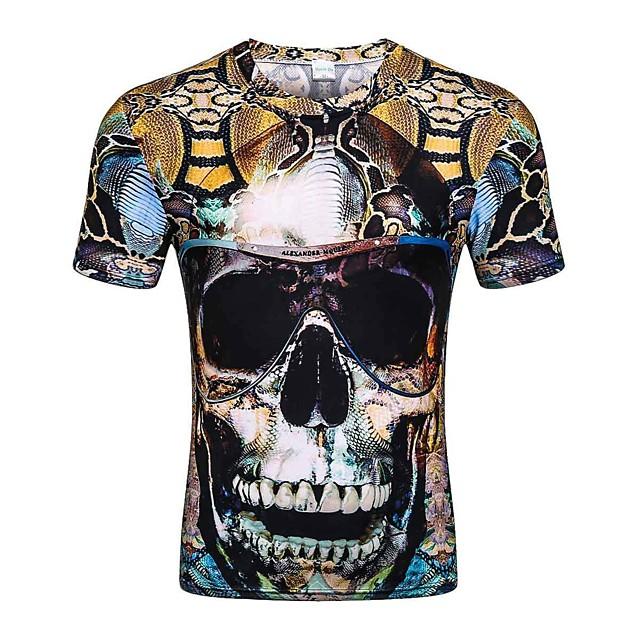Homme T shirt Graphique Bloc de Couleur Crânes Grandes Tailles Hauts Coton Arc-en-ciel