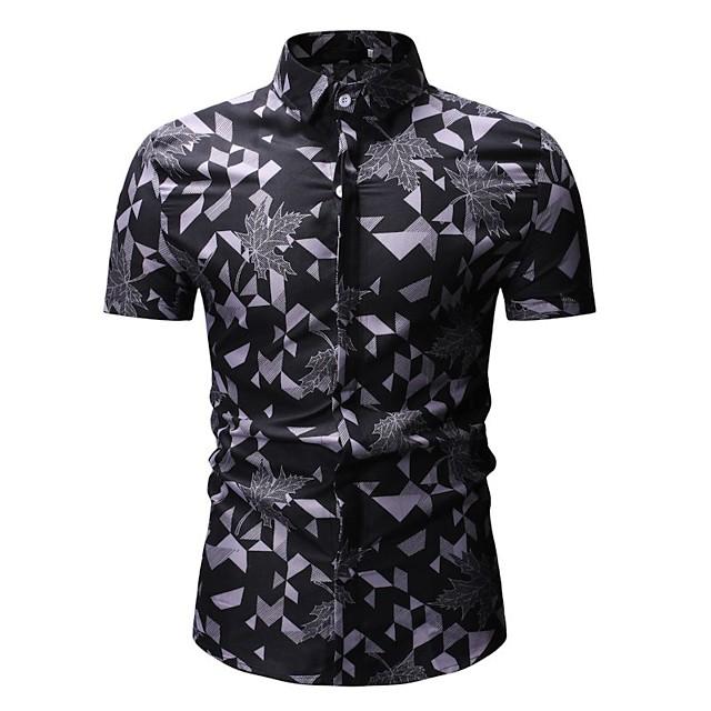 남성용 셔츠 컬러 블럭 기하학 플로럴 프린트 탑스 면 루비 옐로우 그레이