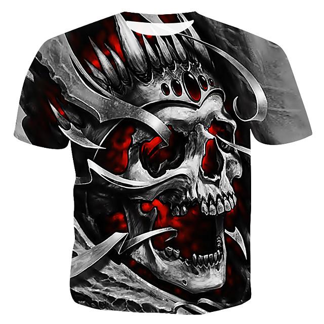 Per uomo maglietta Pop art 3D Teschi Con stampe Manica corta Casual Top Rotonda Grigio / Estate