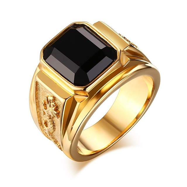 Ring Edelstein Silberschwarz Blau Silber-Rot 24K Gold Plated Mode Weinlese-Thema Street Schick HipHop 1pc 6 7 8 9 1 / Herrn