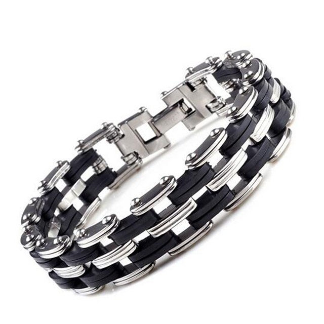 رجالي أساور السلسلة والوصلة موضة مجوهرات الأولية الصلب التيتانيوم مجوهرات سوار فضي من أجل مناسب للبس اليومي