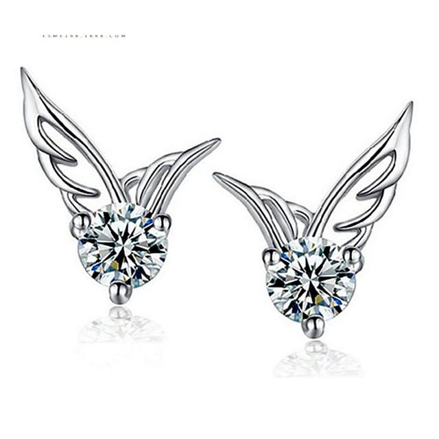 Femme Blanc Zircon Boucles d'Oreille Classique Ailes d'anges Doux Des boucles d'oreilles Bijoux Blanche Pour Anniversaire Quotidien 1 paire