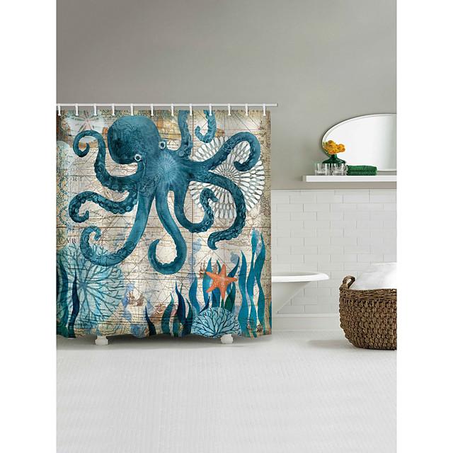 フック付きバスルームシャワーカーテンタコパターン3Dプリントポリエステル防水シャワーカーテン72インチ