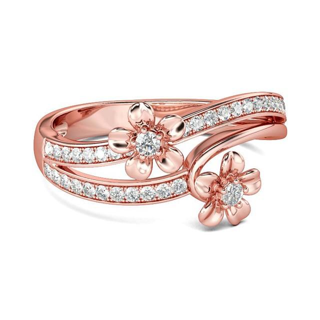 Bague / Anneaux Zircon Ficelle double Dorée Rose Laiton Plaqué Or Rose Imitation Diamant Thème floral Fleur Coréen Doux Mode 1pc 6 7 8 9 10 / Femme