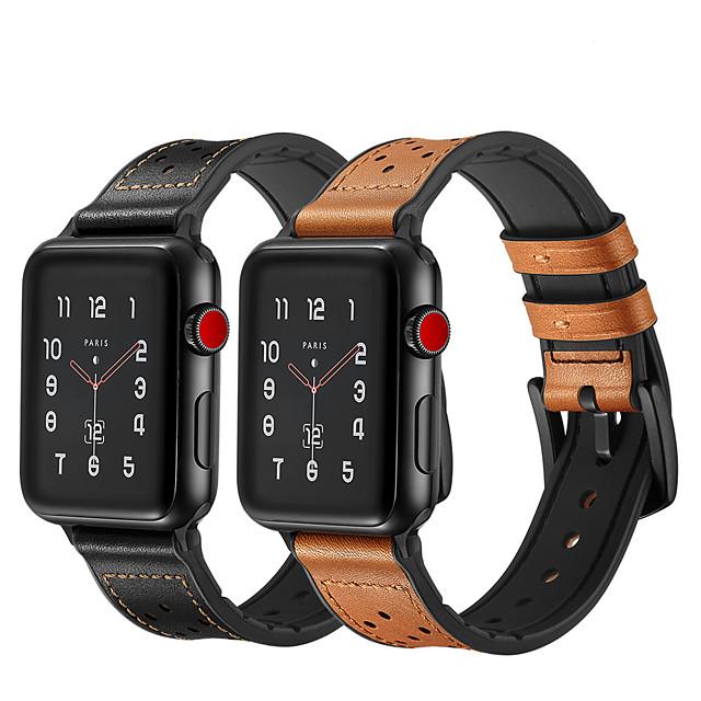 Klockarmband för Apple Watch Series 5/4/3/2/1 Apple Klassiskt spänne Vadderat PU-läder Handledsrem