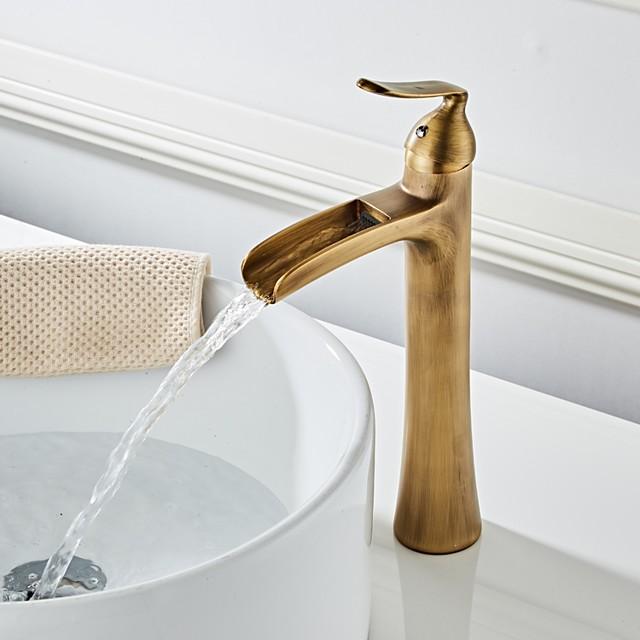 robinet de lavabo de salle de bain - cascade laiton antique centeret poignée unique un trou bain robinets laiton