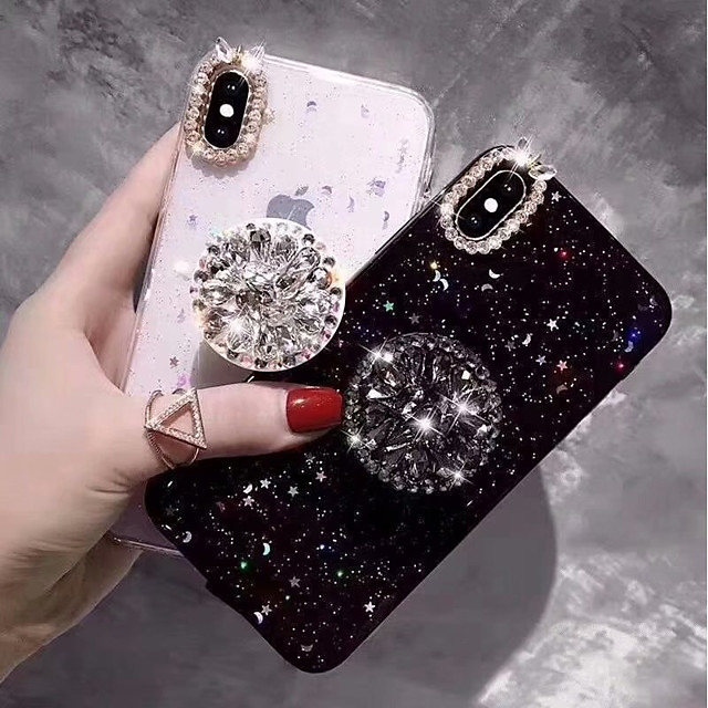 téléphone Coque Pour Apple Coque Arriere iPhone 11 Pro Max SE 2020 X XR XS Max 8 7 6 Strass Avec Support Brillant Dur TPU