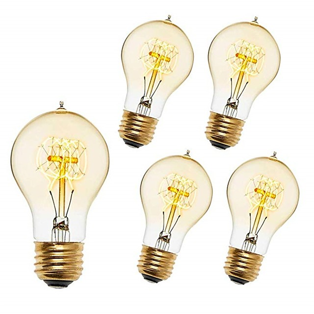 5pcs 40 W E26 / E27 A60(A19) Blanc Chaud 2200-2300 k Rétro / Intensité Réglable / Décorative Ampoule incandescente Edison Vintage 220-240 V