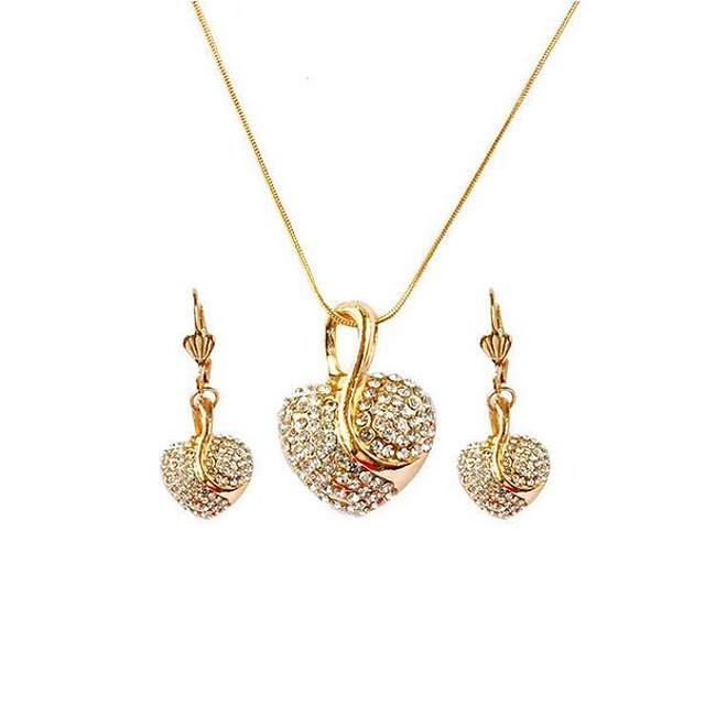 Women S Drop Earrings Pendant Necklace 3d Heart Stylish Unique Design Rhinestone Rose Gold Plated Earrings Jewelry Rose Gold Gold Rose Gold 2 For Gift Daily 1 Set 7146615 2021 5 24