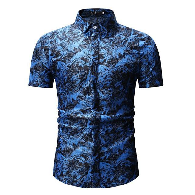 남성용 셔츠 컬러 블럭 기하학 플로럴 프린트 탑스 면 화이트 푸른 루비