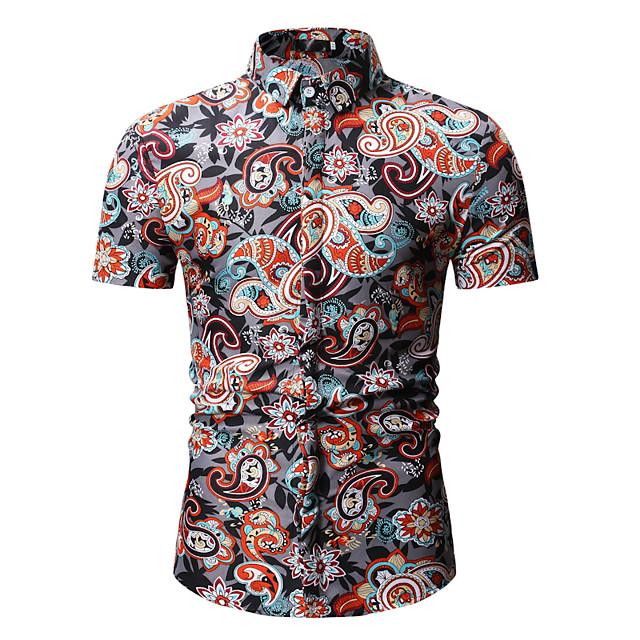 남성용 셔츠 플로럴 프린트 탑스 스트리트 쉬크 보호 푸른 루비