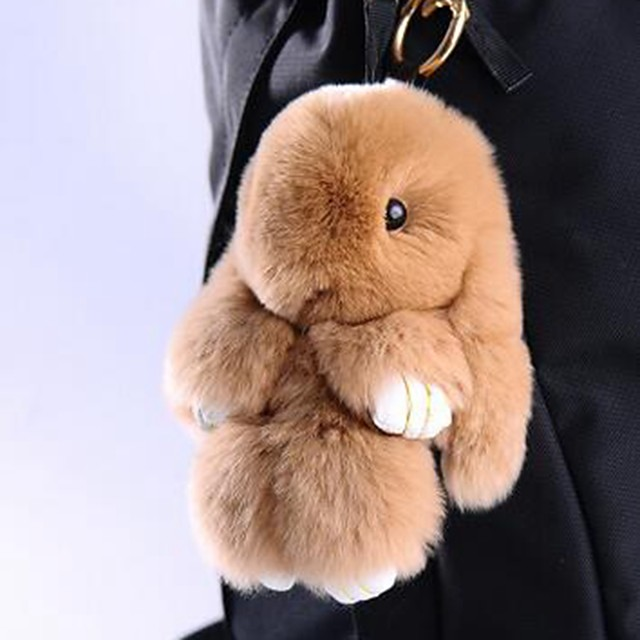 Rabbit Porte-clés Jaune Marron Fourrure Pour