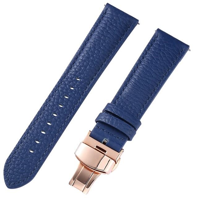 Cuir véritable / Cuir / Poil de veau Bracelet de Montre  Bleu 17cm / 6,69 pouces / 18cm / 7 Pouces / 19cm / 7.48 Pouces 1cm / 0.39 Pouces / 1.2cm / 0.47 Pouces / 1.3cm / 0.5 Pouces